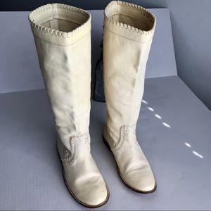 Frye Paige Huarache Flat Tall Boots in Ecrue